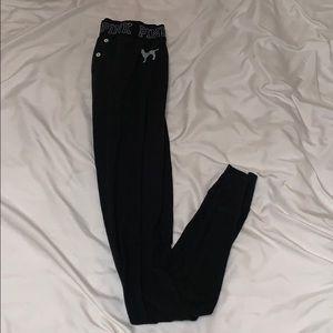PINK black pajama ribbed leggings